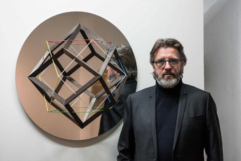 Olafur Eliasson with the We Mirror, 2017.